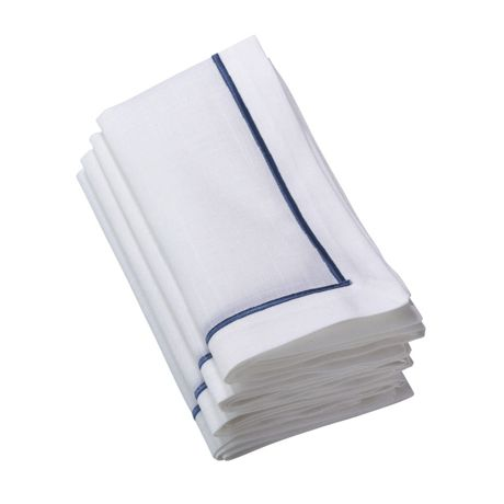Saro Lifestyle Embroidered Border Dinner Napkins - Set of 4