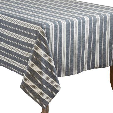 Saro Lifestyle 65x104 Striped Cotton Rectangle Tablecloth