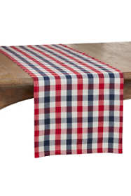 Saro Lifestyle Gingham Check Cotton Table Runner