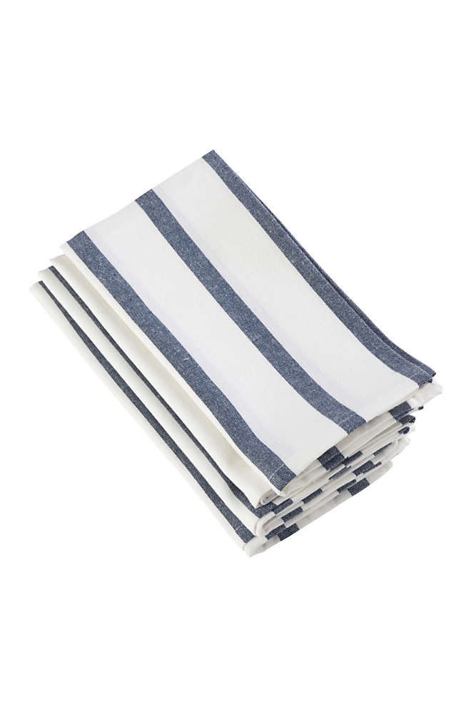 Saro Lifestyle Striped Print Cotton Dinner Napkins - Set of 4, Front