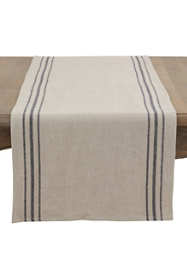 Saro Lifestyle Simple Striped Linen Table Runner