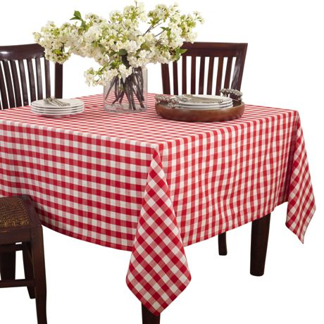 Saro Lifestyle 72x72 Gingham Cotton Square Tablecloth