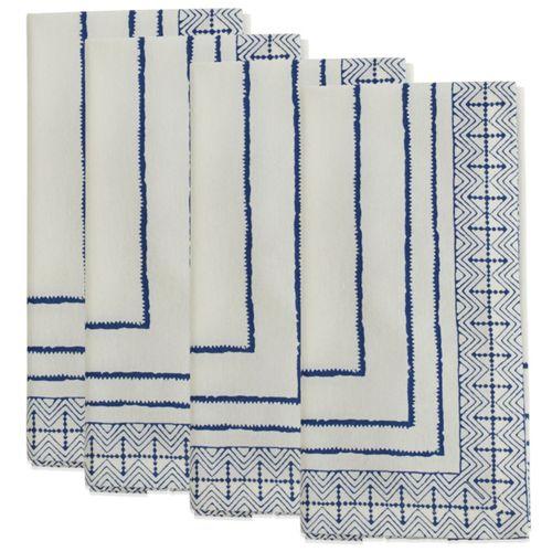 Saro Lifestyle Block Print Cotton Dinner Napkins - Set of 4
