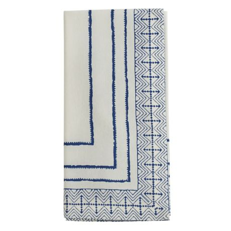 Saro Lifestyle Block Print Cotton Dinner Napkins - Set of 4