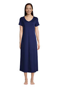 Women's Tall Supima Cotton V-Neck Short Sleeve Midcalf Nightgown