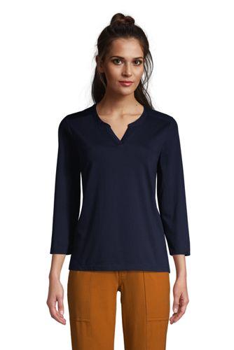 T-Shirt Supima Col Tunisien Manches 3/4, Femme Stature Standard