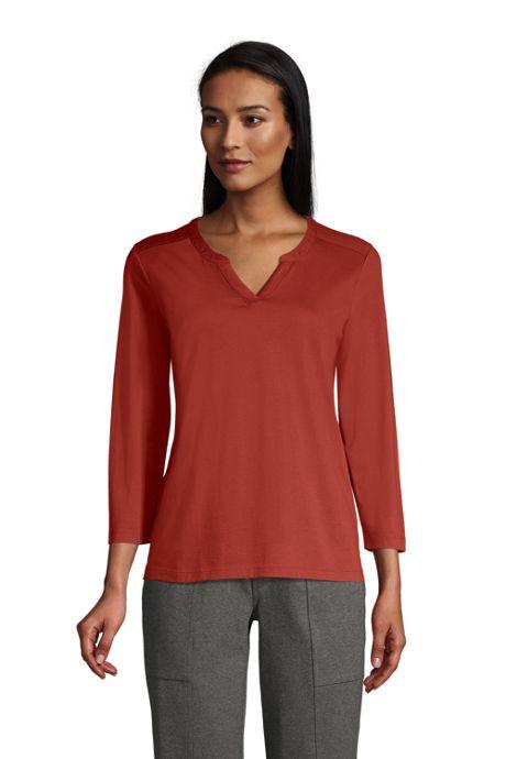 Women's Supima Cotton 3/4 Sleeve Split Neck Top
