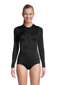 Women's Mastectomy Chlorine Resistant Zip Front Long Sleeve Tugless Sporty One Piece Swimsuit