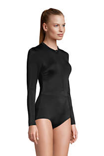 Women's Chlorine Resistant Zip Front Long Sleeve Tugless Sporty One Piece Swimsuit, alternative image