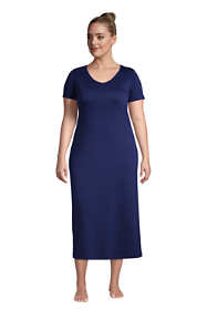 Women's Plus Size Supima Cotton V-Neck Short Sleeve Midcalf Nightgown