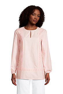 Women's Cotton Split Neck Tunic Top