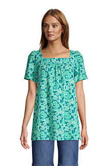 Women's Cotton-Viscose Square Neck Tunic Top