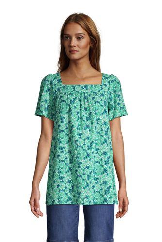 Bluse aus Baumwolle/Viskose mit Carré-Ausschnitt für Damen
