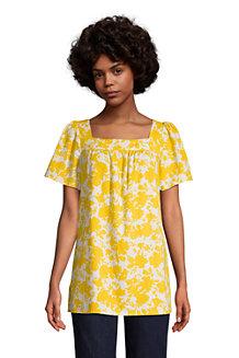 Women's Cotton-Viscose Square Neck Tunic Top