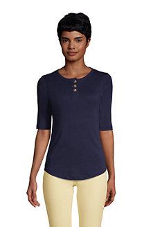 Women's Cotton Elbow Sleeve Henley T-Shirt