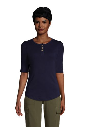 Henleyshirt mit halblangen Ärmeln für Damen