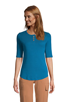Women's Cotton Elbow Sleeve Henley T-Shirt