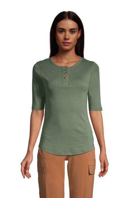Women's Petite All Cotton Elbow Sleeve Henley T-Shirt