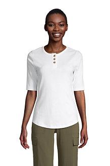 T-Shirt Henley en Coton Manches aux Coudes, Femme