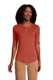 Women's Petite All Cotton Elbow Sleeve Henley T-Shirt
