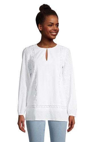 Women's Petite Cotton Split Neck Tunic Top