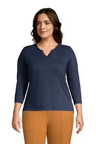 Women's Plus Size Supima Cotton 3/4 Sleeve Split Neck Top