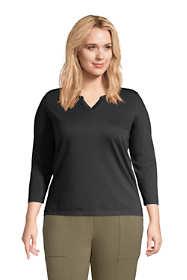 Women's Plus Size Supima Cotton 3/4 Sleeve Split Neck Top