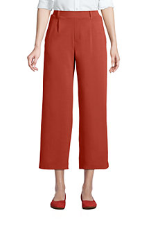 Women's Sport Knit Wide Leg Pull On Crop Trousers