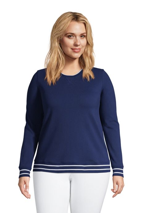 Women's Plus Size Mesh Cotton Crewneck Long Sleeve Sweatshirt