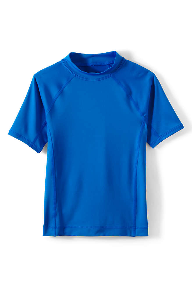 Boys Short Sleeve Solid Swim UPF 50 Rash Guard, Front