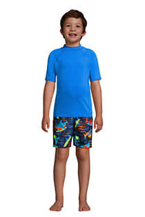 Boys Short Sleeve Solid Swim UPF 50 Rash Guard, alternative image
