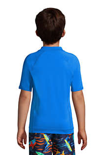 Boys Short Sleeve Solid Swim UPF 50 Rash Guard, Back