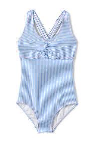 Girls Seersucker One Piece Swimsuit