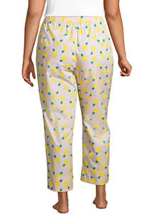 Women's Plus Size Cotton Poplin Pajama Crop Pants, Back