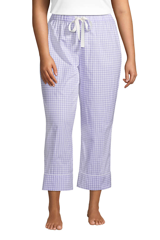 Women's Plus Size Cotton Poplin Pajama Crop Pants, Front