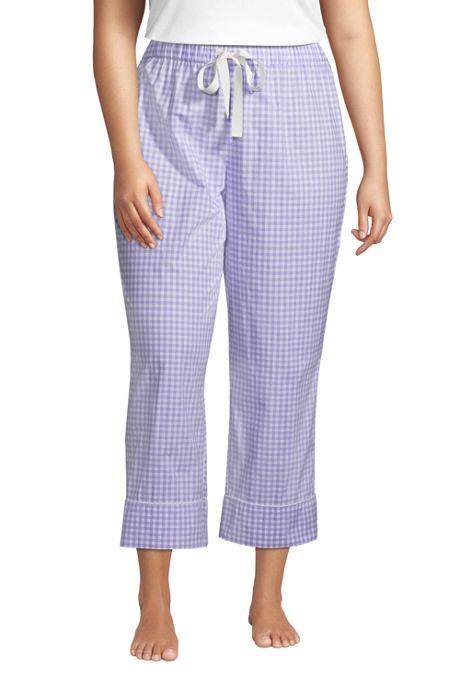 Women's Plus Size Cotton Poplin Pajama Crop Pants