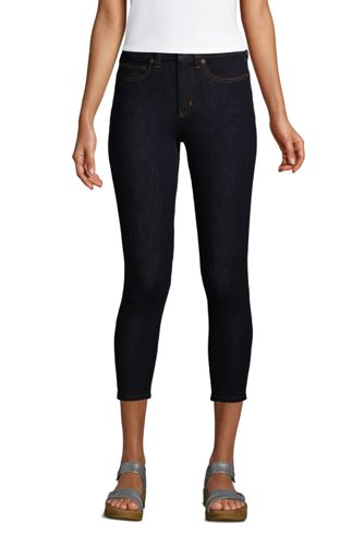 High Waist 7/8-Leggings-Jeans mit Stretch in Indigo für Damen