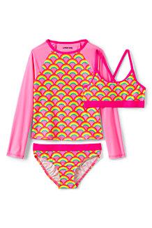 3-teiliges Set aus Badeshirt und Bikini für Mädchen