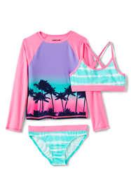 Girls Slim Rash Guard Swim Top, Bikini Top & Bottoms Swimsuit Set
