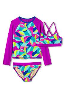 3-teiliges Set aus Badeshirt und Bikini für große Mädchen