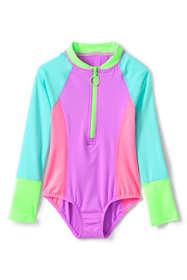 Girls Plus Long Sleeve Half Zip One Piece Swimsuit