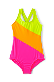 Girls' Colourblock X-back Swimsuit