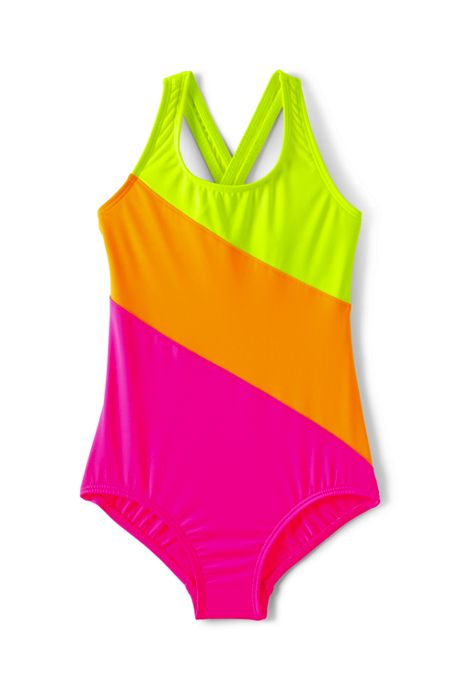 Girls One Piece Color Block Swimsuit