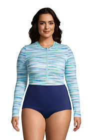 Women's Plus Size Chlorine Resistant Zip Front Long Sleeve Tugless Sporty One Piece Swimsuit