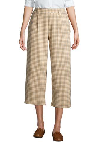 Women's Sport Knit Wide Leg Pull On Crop Trousers