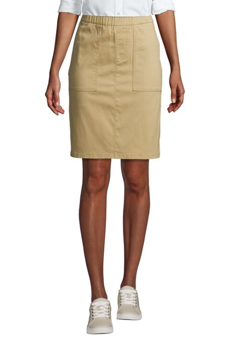 Women's Mid Rise Elastic Waist Pull On Chino Skort