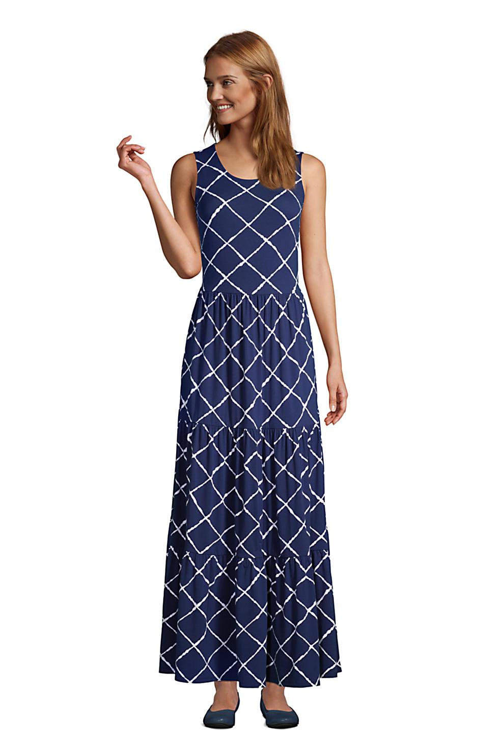 Lands End Women's Sleeveless Tiered Maxi Dress