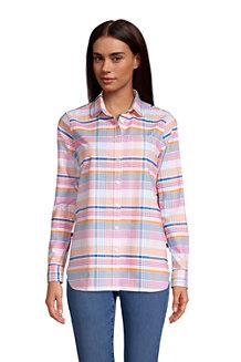 Langärmelige Oxford-Bluse mit Bubikragen für Damen