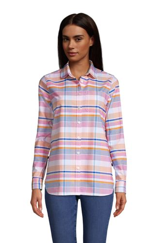 Women's Long Sleeve Peter Pan Collar Oxford Shirt