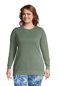 Women's Plus Size Serious Sweats Reversible Crewneck Long Sleeve Sweatshirt Tunic